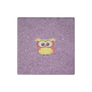 Glitter Owl Stone Magnet