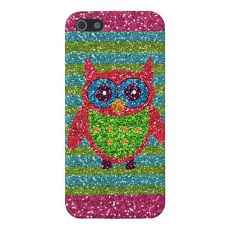 Glitter Owl Teal Pink Green Bling iPhone 5 Case