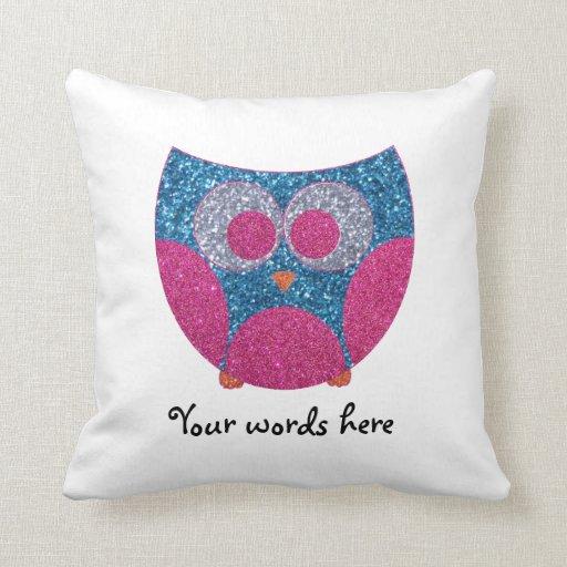 Glitter owl throw pillow