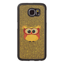Glitter Owl Wood Phone Case