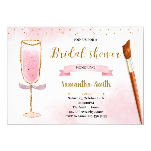 Glitter paint and sip shower invitation