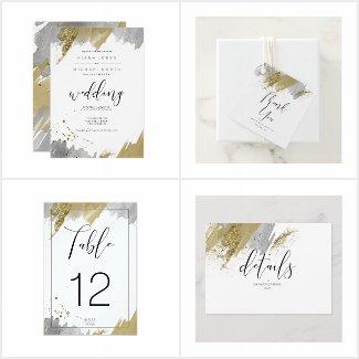 Glitter & Paint Strokes Wedding Gold