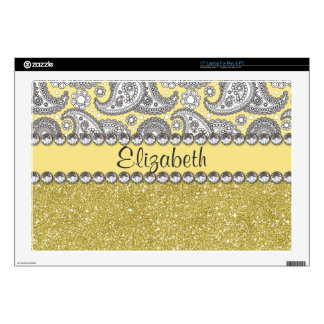 "Glitter Paisley Rhinestone Print Pattern 17"" Laptop Skin"