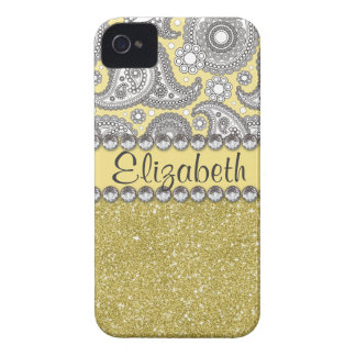 Glitter Paisley Rhinestone Print Pattern iPhone 4 Case