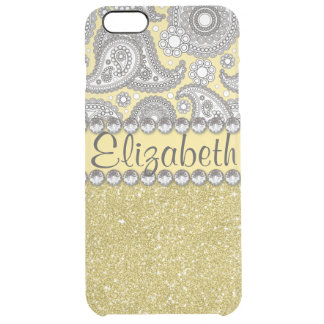 Glitter Paisley Rhinestone Print Pattern Uncommon Clearly™ Deflector iPhone 6 Plus Case