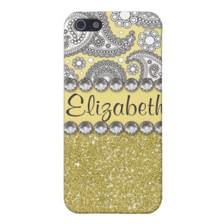 Glitter Paisley Rhinestone Print Pattern Cases For iPhone 5