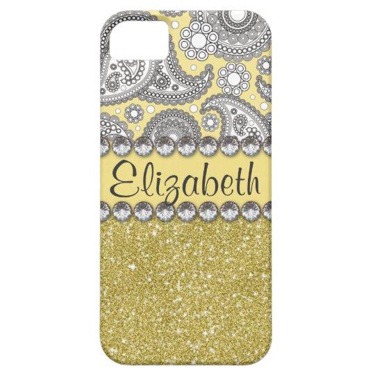 Glitter Paisley Rhinestone Print Pattern iPhone SE/5/5s Case