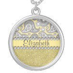 Glitter Paisley Rhinestone Print Pattern Necklaces