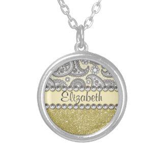 Glitter Paisley Rhinestone Print Pattern Round Pendant Necklace