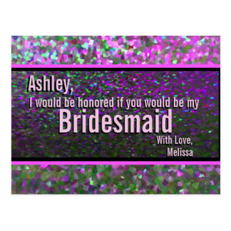 Glitter Party Glam - Will You Be My Bridesmaid? Postcard