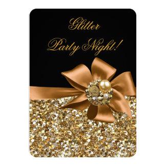 Glitter Party Night Gold Black Bronze Bow Jewel Card