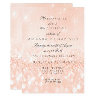 Glitter  Pastel Coral Peach Girly Bridal Birthday Card