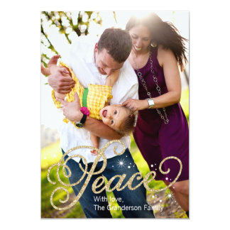 Glitter Peace Holiday Photo Card
