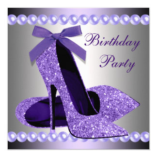 Glitter Pearls Purple High Heels Shoes Birthday Card