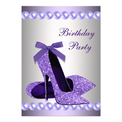 glitter pearls purple high heels shoes birthday 5 quot x 7