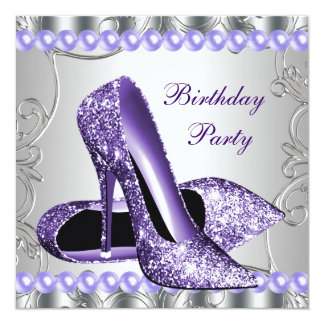 Glitter Pearls Purple High Heels Shoes Birthday 5.25x5.25 Square Paper Invitation Card