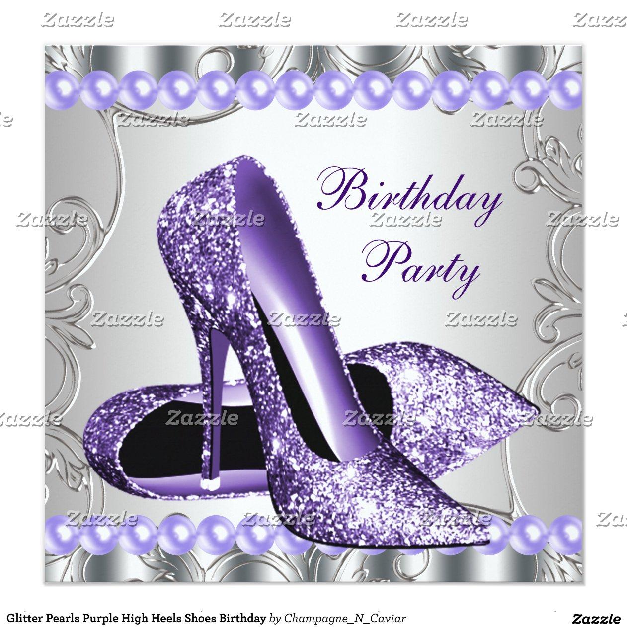 glitter_pearls_purple_high_heels_shoes_birthday_invitation ...