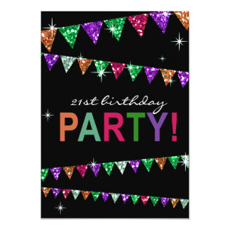Glitter Pennant Flags 21st Birthday Celebration Card