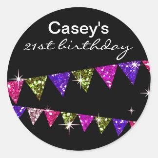 Glitter Pennant Flags 21st Birthday Celebration Classic Round Sticker