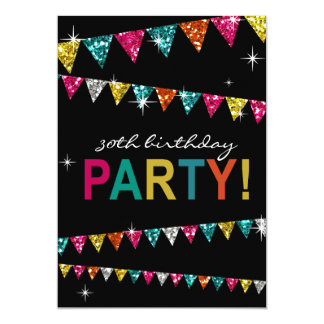 Glitter Pennant Flags 30th Birthday Celebration Card