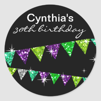 Glitter Pennant Flags 30th Birthday Celebration Classic Round Sticker
