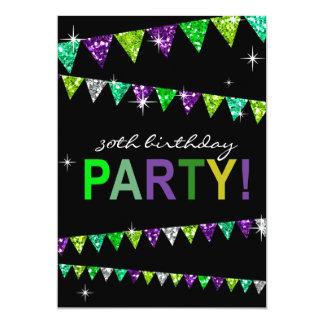 Glitter Pennant Flags 30th Birthday Celebration 5x7 Paper Invitation Card