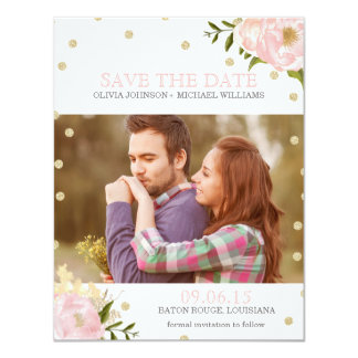 Glitter Peony Save the Date Announcements