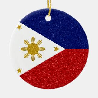 Glitter Philippines Flag with Custom Year Ceramic Ornament