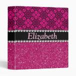 Glitter Pink and Black Pattern Rhinestones 3 Ring Binders