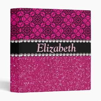 Glitter Pink and Black Pattern Rhinestones Binder