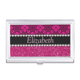 Bling business card holders cases zazzle glitter pink and black pattern rhinestones business card holder colourmoves