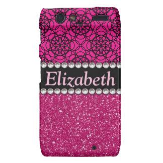 Glitter Pink and Black Pattern Rhinestones Droid RAZR Case