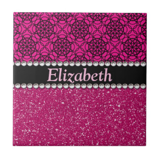 Glitter Pink and Black Pattern Rhinestones Ceramic Tile