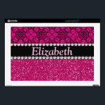 "Glitter Pink and Black Pattern Rhinestones Decal For Laptop<br><div class=""desc"">A hot pink / purple glitter that sparkles on the bottom,  and bright pink / purple with a black twirl / swirl design background pattern on the top. The center is left for personalization / personalize surrounded with white diamond rhinestones (faux). (PHOTO PRINT)</div>"