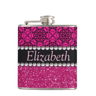 Glitter Pink and Black Pattern Rhinestones Hip Flasks