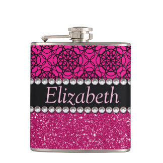 Glitter Pink and Black Pattern Rhinestones Flask