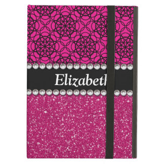 Glitter Pink and Black Pattern Rhinestones iPad Air Cases