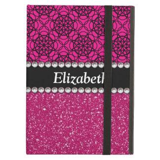 Glitter Pink and Black Pattern Rhinestones iPad Air Cover