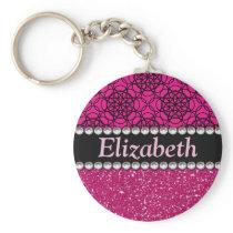 Glitter Pink and Black Pattern Rhinestones Keychain