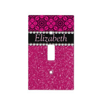 Glitter Pink and Black Pattern Rhinestones Light Switch Cover