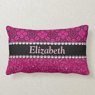 Glitter Pink and Black Pattern Rhinestones Lumbar Pillow