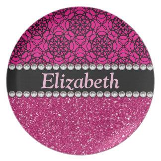 Glitter Pink and Black Pattern Rhinestones Melamine Plate
