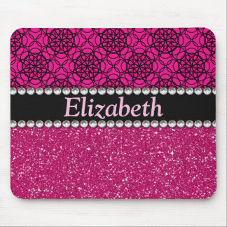 Glitter Pink and Black Pattern Rhinestones Mouse Pad