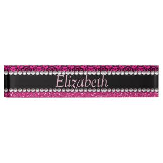 Glitter Pink and Black Pattern Rhinestones Desk Nameplate