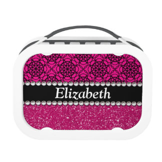 Glitter Pink and Black Pattern Rhinestones Replacement Plate