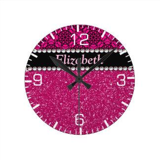 Glitter Pink and Black Pattern Rhinestones Round Clock