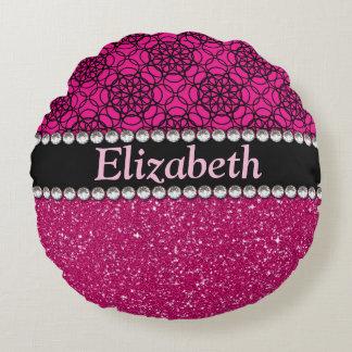 Glitter Pink and Black Pattern Rhinestones Round Pillow