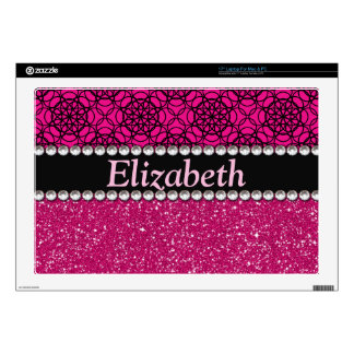 Glitter Pink and Black Pattern Rhinestones Decal For Laptop
