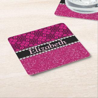 Glitter Pink and Black Pattern Rhinestones Square Paper Coaster