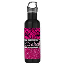 Glitter Pink and Black Pattern Rhinestones Stainless Steel Water Bottle